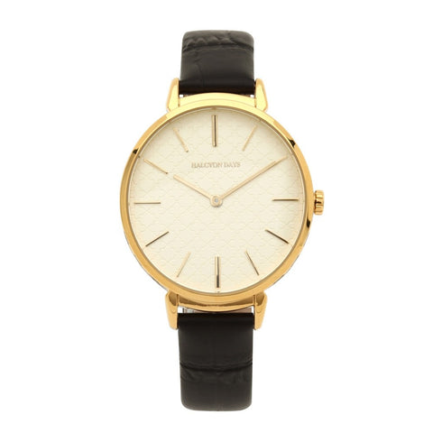 Agama Sport Watch, Black and Gold | Halcyon Days | Made in England-Ladies Watch-Sterling-and-Burke