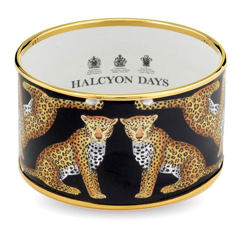 Enamel Bangle | 4cm Leopard Push Bangle | Wide Cuff | Black | Halcyon Days | Made in England
