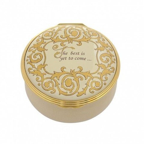 Enamel Box | The Best Is Yet To Come Enamel Box | Beige, Ivory and Gold | Halcyon Days | Made in England