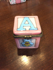 Baby Girl ABC Block ~ Limoges Style Porcelain Box-Limoges Style Box-Sterling-and-Burke