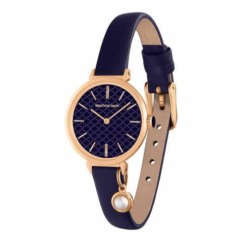 Halcyon Days Agama Leather Strap Pearl Charm Watch in Navy and Rose Gold-Jewelry-Sterling-and-Burke