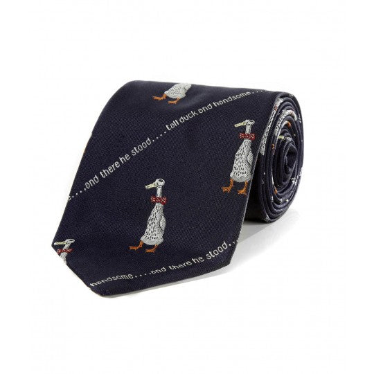 Simon Drew Tall Duck and Handsome Tie, Navy | Silk | Budd Shirtmakers | Made in England-Necktie-Sterling-and-Burke