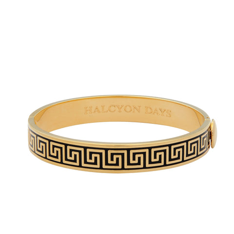 Halcyon Days Maya Plain Enamel Bangle Strap Watch and Greek Key Enamel Bangle Set in Black and Gold-Jewelry-Sterling-and-Burke