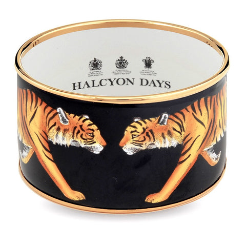 Halcyon Days 4cm MW Tiger Push Enamel Bangle in Black