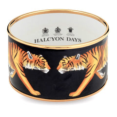 Enamel Bangle | 4cm MW Tiger Cuff | Halcyon Days | Made in England-Bangle-Sterling-and-Burke