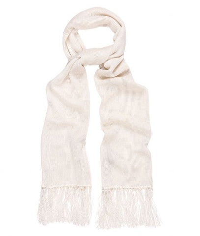 Budd Plain Knitted Silk Dress Scarf in Ivory