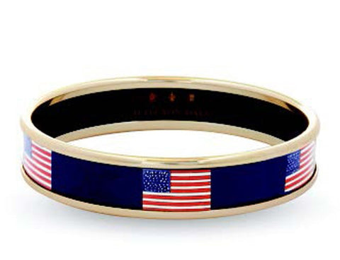 Enamel Bangle | Stars and Stripes Bangle, Navy and Gold | Halcyon Days | Made in England