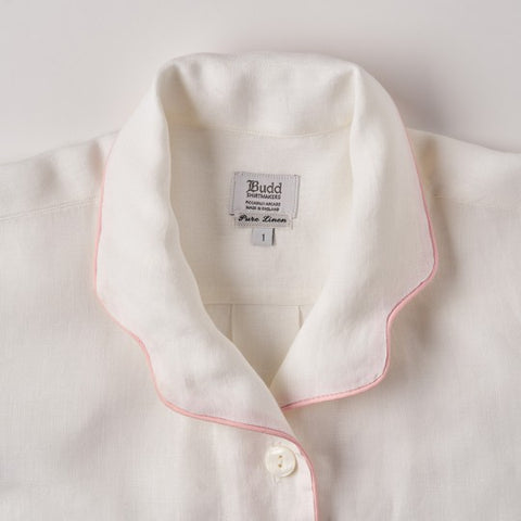 Budd Sleepwear | Plain Linen Pyjamas for Women | White and Pink | Budd Shirtmakers | Made in England-Pyjamas-Sterling-and-Burke
