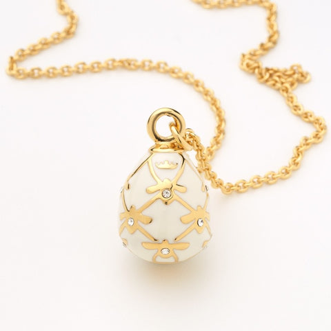 Enamel Pendant | Bee Sparkle Pendant Necklace | Cream and Gold | Halcyon Days | Made in England-Necklace-Sterling-and-Burke