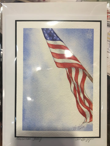 "Art | American Flag | Limited Edition Giclee Printed Card by Carole Moore Biggio | 7"" x 5"""