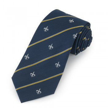Fleur De Lys Motif with Stripe | Woven Silk Tie | Navy and Silver | Benson and Clegg | London
