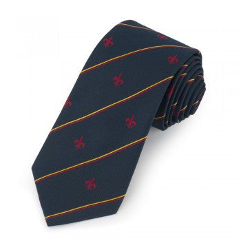 Fleur De Lys Motif with Stripe | Woven Silk Tie | Navy and Red | Benson and Clegg | London