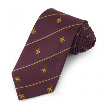 Fleur De Lys Motif with Stripe | Woven Silk Tie | Burgundy and Gold | Benson and Clegg | London