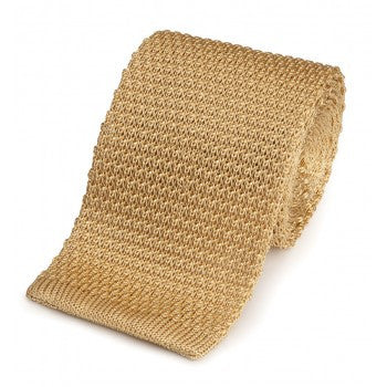 Knitted Silk Tie in Champagne hand made in England by Benson & Clegg