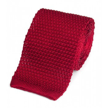 Knitted Silk Tie in Red