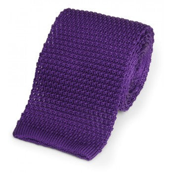 Knitted Silk Tie in Purple hand made in England by Benson & Clegg
