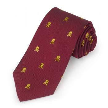 Skull and Crossbones Silk Tie, Burgundy and Gold | Silk Tie | Benson and Clegg | Made in England