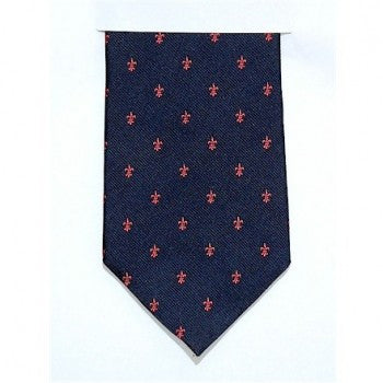 Fleur De Lys Silk Tie in Pink & navy-Necktie-Sterling-and-Burke