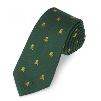 Skull & Crossbones Silk Tie, Gold & Green-Necktie-Sterling-and-Burke