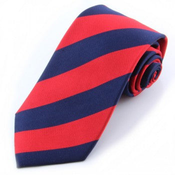 Mayfair Stripe Silk Tie in Navy & Red-Necktie-Sterling-and-Burke