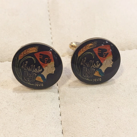 Egypt Pharaoh Head Coin Cufflinks | Coin Cuff Links from Egypt | Hand Painted | Authentic Egyptian Coin