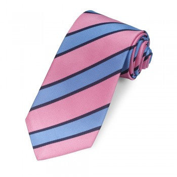 Kensington Stripe '350 End', Blue and Pink | Silk Tie | Benson and Clegg | Made in England-Necktie-Sterling-and-Burke