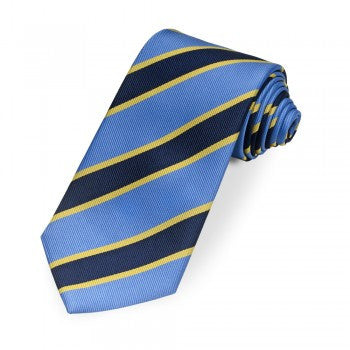 Kensington Stripe Silk Tie in Blue & Gold