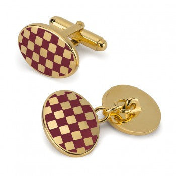 Oval Enamel Check T-Bar Cufflinks, Red-Enamel Cufflinks-Sterling-and-Burke