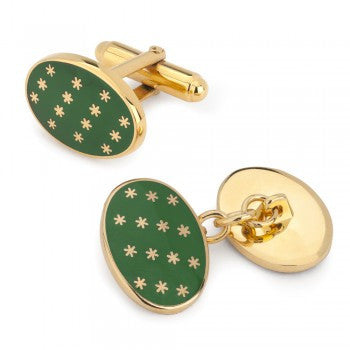 Star Cuff Links | Oval Enamel Star T-Bar Cufflinks | Green and Gold Stars | Benson and Clegg | Made in England