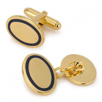 Oval Gold T-Bar Cufflinks, Navy-Enamel Cufflinks-Sterling-and-Burke