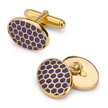 Oval Enamel Honeycomb T-Bar Cufflinks, Navy-Enamel Cufflinks-Sterling-and-Burke