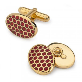 Oval Enamel Honeycomb T-Bar Cufflinks | Red | Made in England | Sterling and Burke-Enamel Cufflinks-Sterling-and-Burke