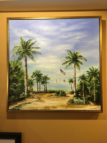"Art | Welcome to Vanderbilt Beach | Original Oil Painting Framed in Gold by Claire Howard | 31.5"" x 31.5""-Oil Painting-Sterling-and-Burke"