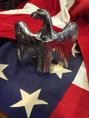 "Patriotic Antique American Eagle Flag Topper | Silver Plated | 6"" US Eagle 