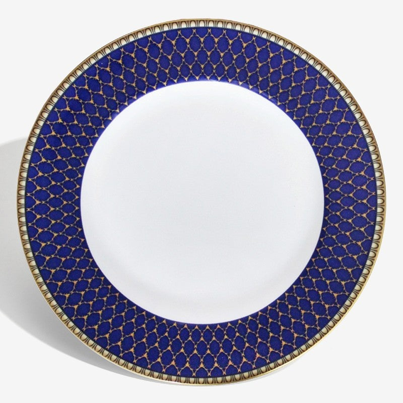 "Halcyon Days Antler Trellis 10"" Plate in Midnight & Gold-Bone China-Sterling-and-Burke"