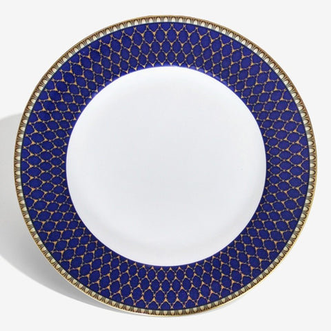 "Halcyon Days Antler Trellis Midnight 8"" Plate-Bone China-Sterling-and-Burke"