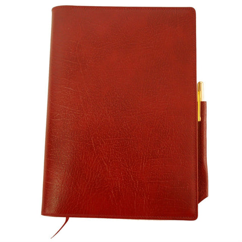 Refillable Leather Buffalo Calf Manuscript Book with Pencil, 8 by 6 Inches