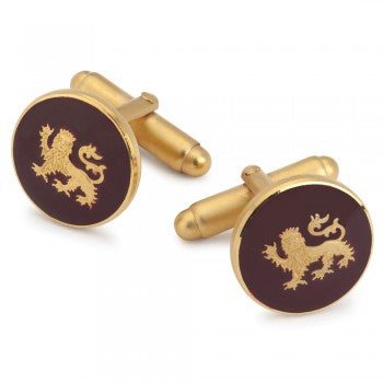Lion Passant Guardant Burgundy Enamel T-Bar Cufflinks