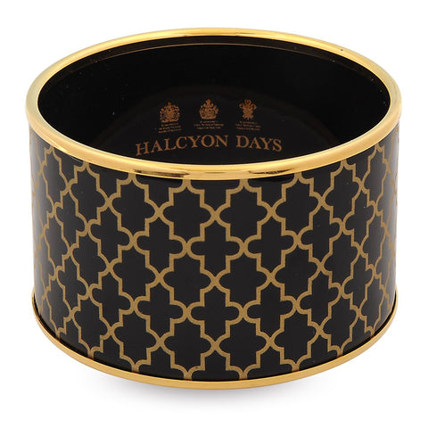 Enamel Bangle | 4cm Agama Print Cuff | Black and Gold | Halcyon Days | Made in England