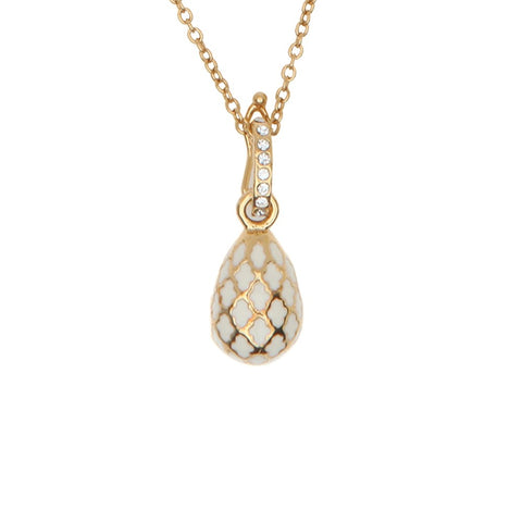 Halcyon Days Agama Enamel Egg Charm Pendant Necklace in Cream & Gold