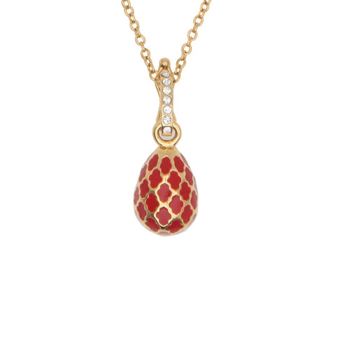 Halcyon Days Agama Enamel Egg Charm Pendant Necklace in Red & Gold