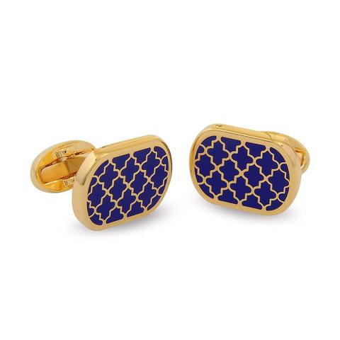 Enamel Cufflinks | Agama Rectangular Cufflinks | Deep Cobalt / Gold | Halcyon Days | Made in England