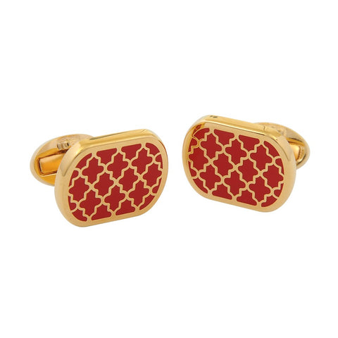 Enamel Cufflinks | Agama Rectangular Cufflinks | Red / Gold | Halcyon Days | Made in England