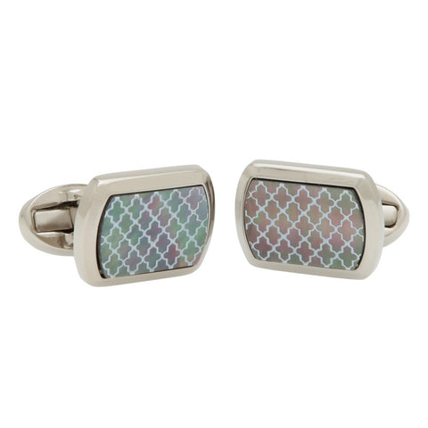 Halcyon Days Agama Cufflinks in Mother of Pearl and Palladium-Enamel Cufflinks-Sterling-and-Burke