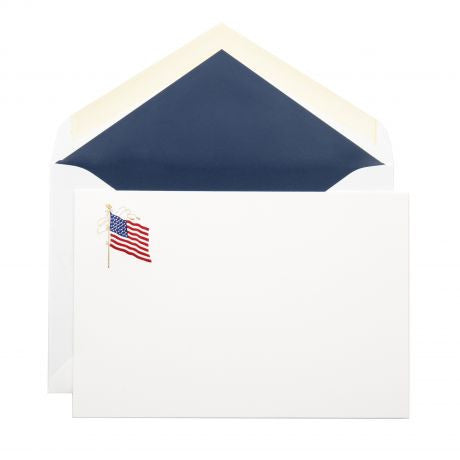 American Flag Stationery, Set of 10-Stationery-Sterling-and-Burke