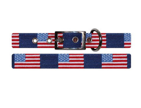 Needlepoint Collection | American Flag Needlepoint Dog Collar | Navy Blue | Smathers and Branson