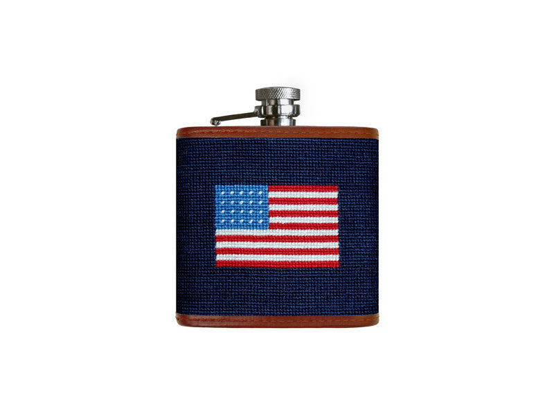 Needlepoint Collection | American Flag Needlepoint Flask | US Flag Flask | Captive Top | Dark Navy | Smathers and Branson-Flask-Sterling-and-Burke