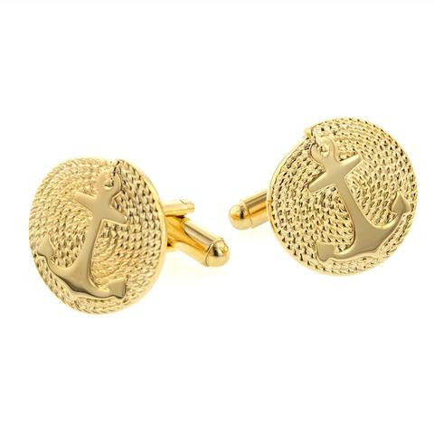 Anchor with Rope Gold Plate Cufflinks made in America