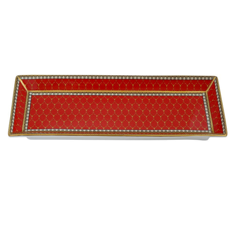 English Fine Bone China | Trinket Tray | Antler Trellis | Rectangular | Red | Halcyon Days | Made in England-Bone China-Sterling-and-Burke