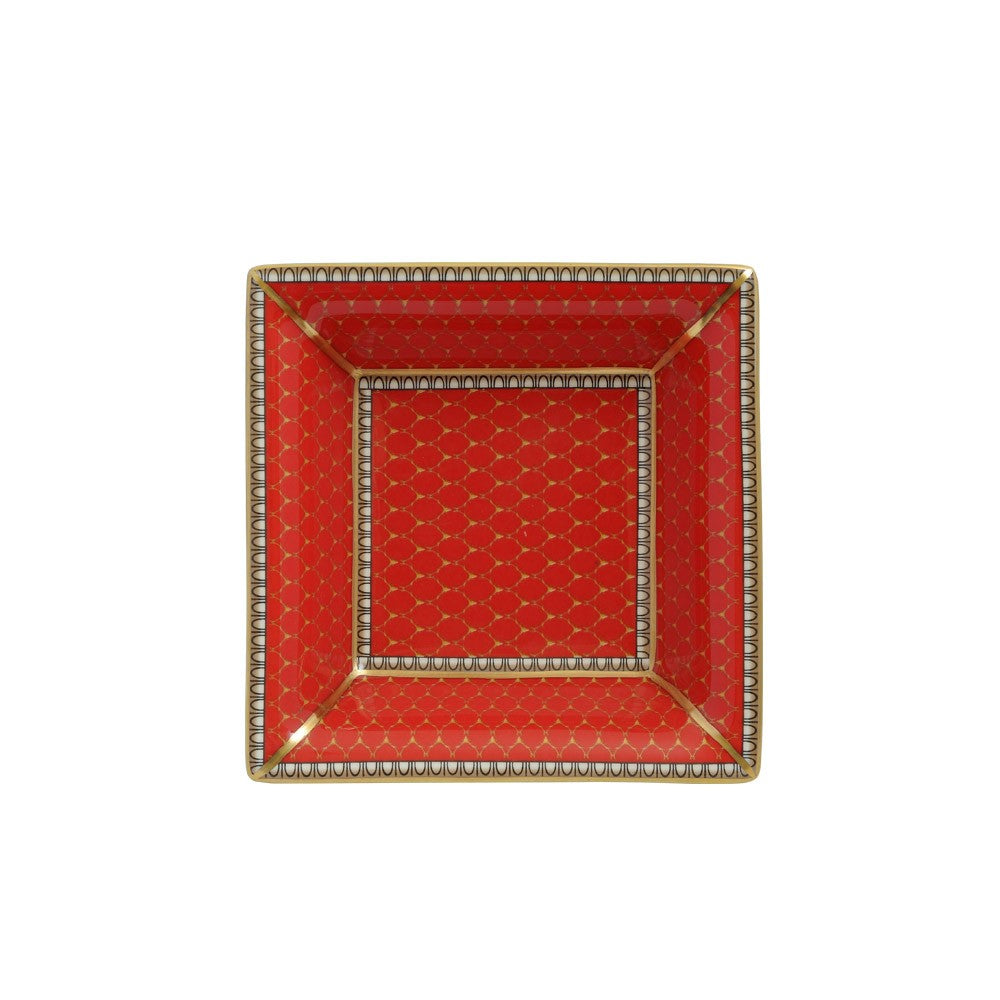 Fine English Bone China | Trinket Tray | Antler Trellis | Square | Red | Halcyon Days | Made in England-Trinket Tray-Sterling-and-Burke